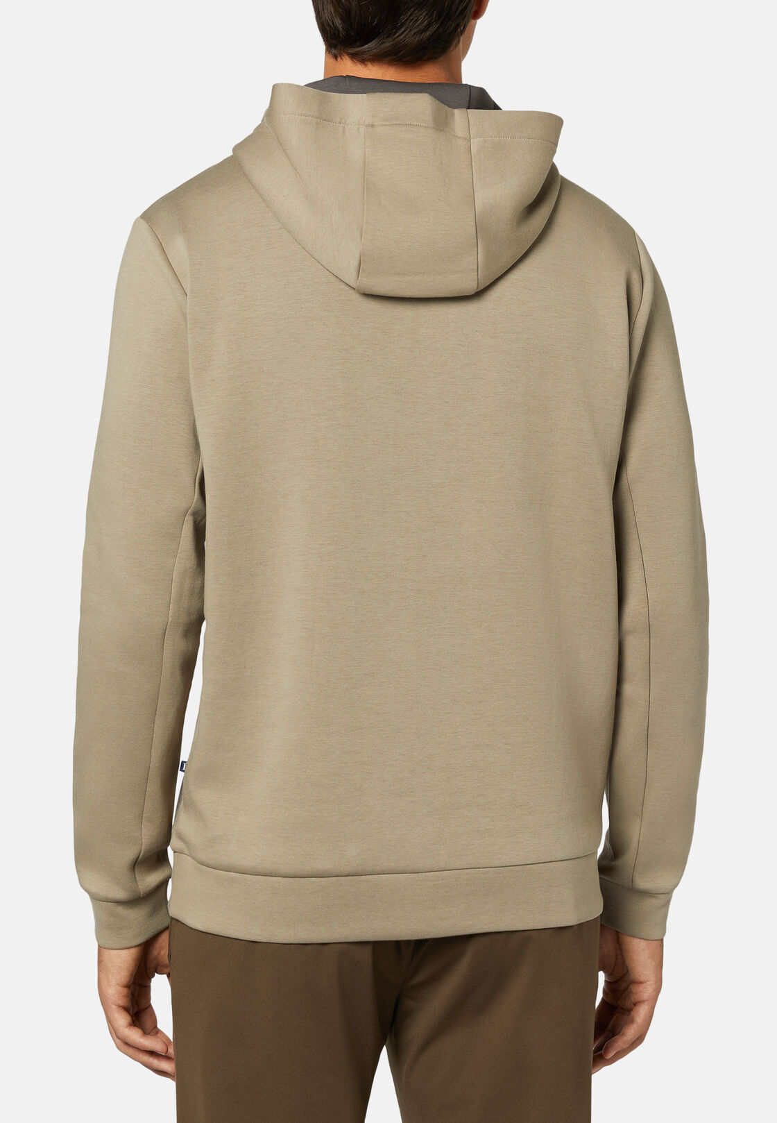 Sweatshirt mit kapuze aus elastischem light scuba, Beige, hi-res