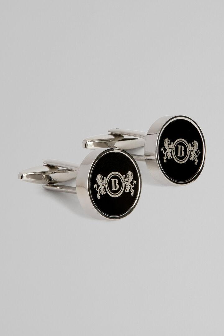 Gemelos Circulares De Metal Con El Logo Con Los Leones, Plata, hi-res