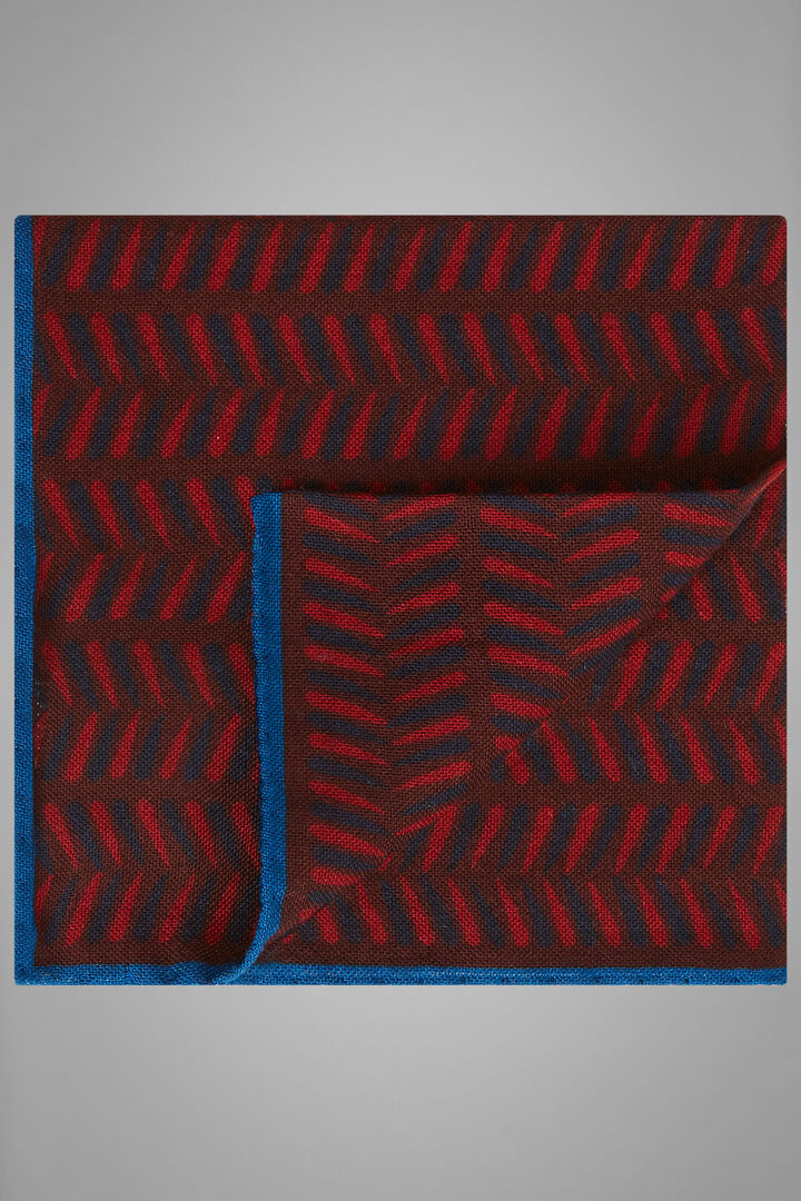 Herringbone Print Wool/Silk Pocket Square, Burgundy, hi-res