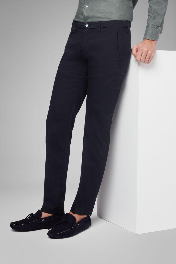Pantalon Stretch En Coton Tencel Effet Délavé, Bleu, hi-res