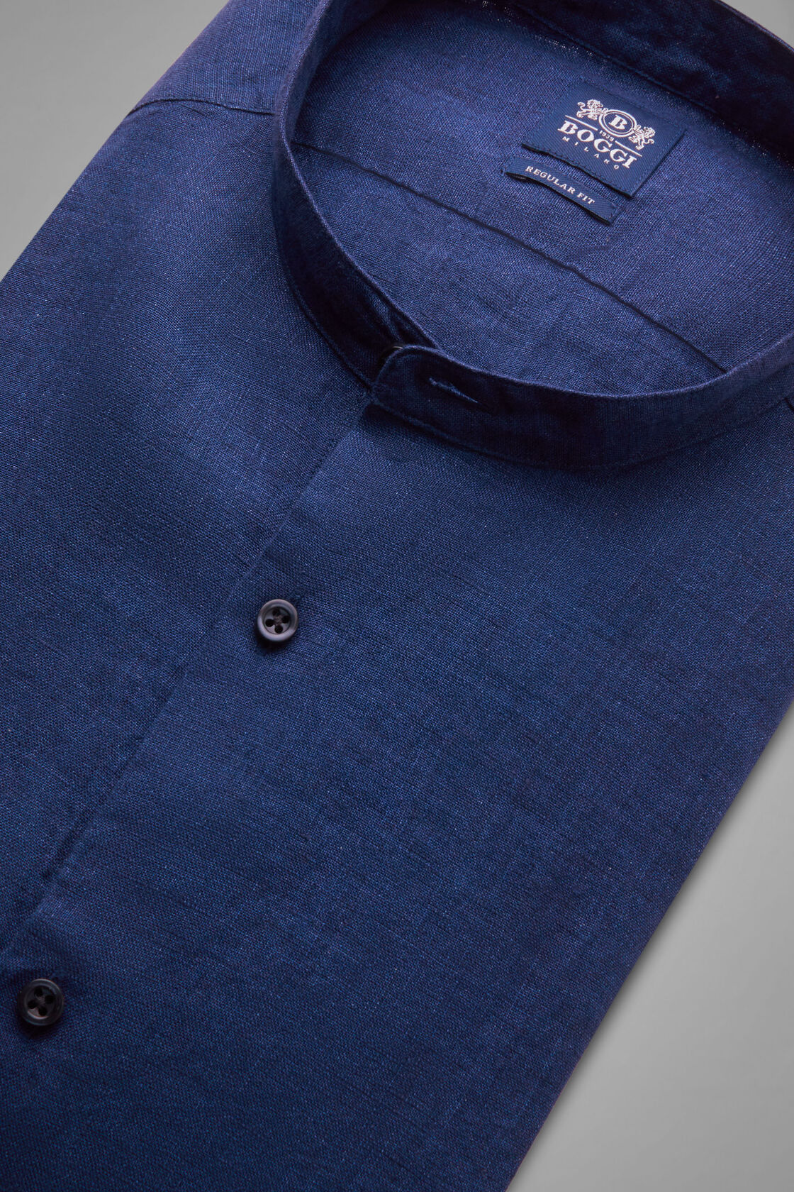 Hemd Blau Mit Stehkragen Regular Fit, , hi-res