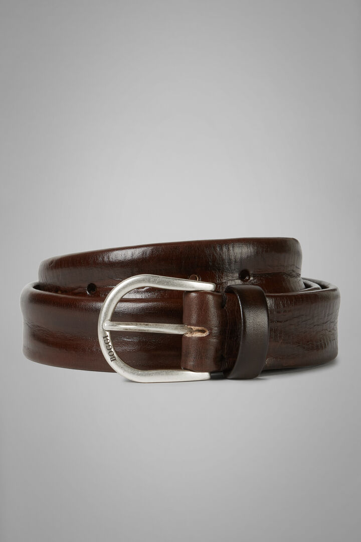 Hand-Dyed Leather Belt, Dark brown, hi-res