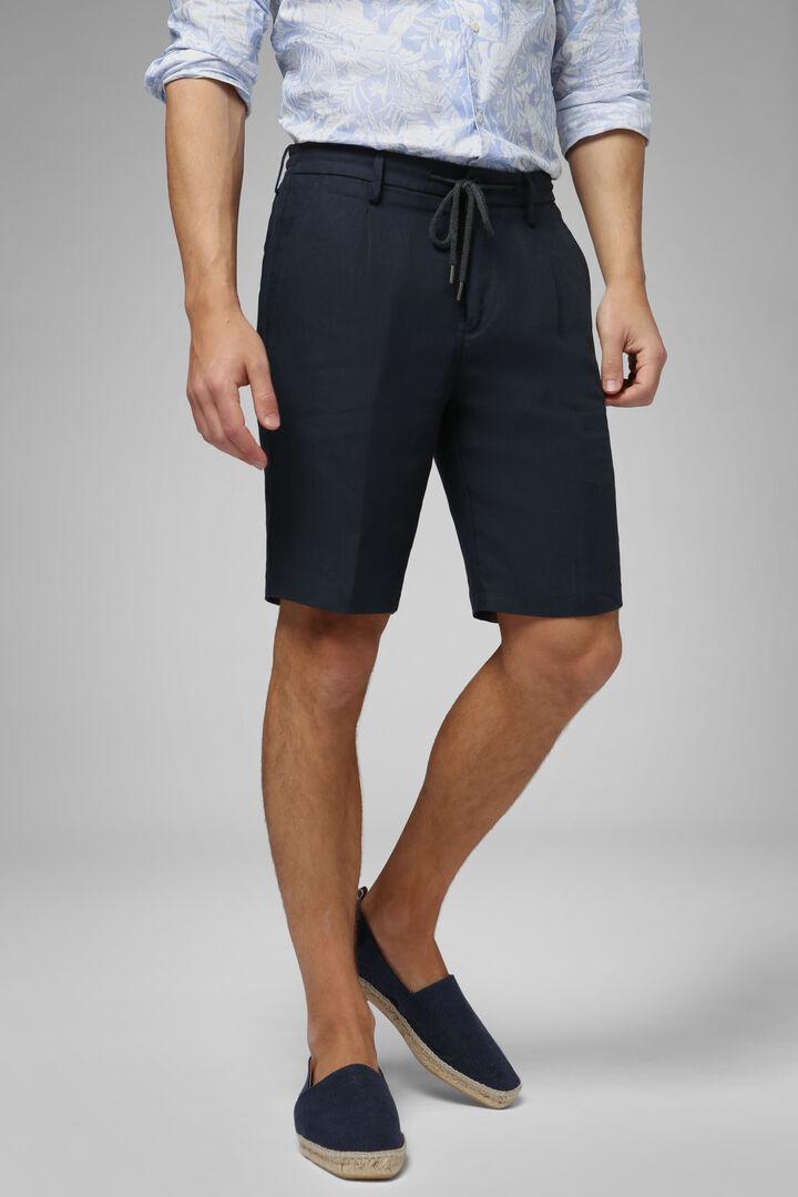 Plain Linen Bermuda Shorts With Drawcord, Blue, hi-res