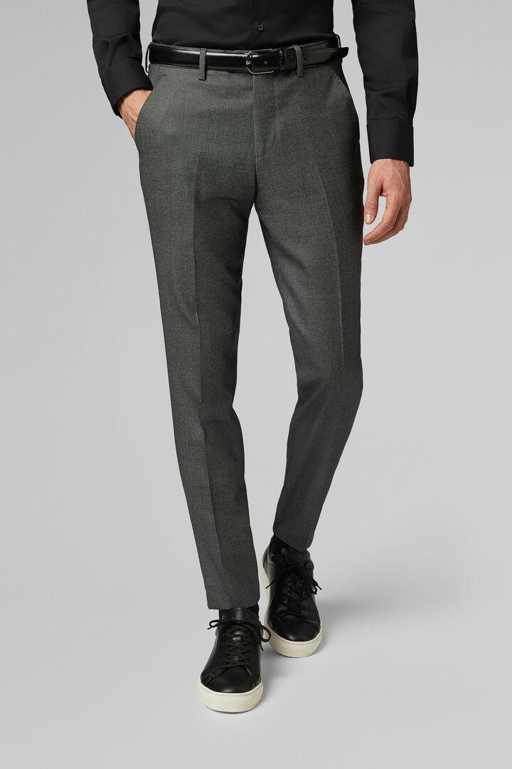 Pantalone Da Abito Grigio Medio In Lana Slim, Grigio medio, hi-res