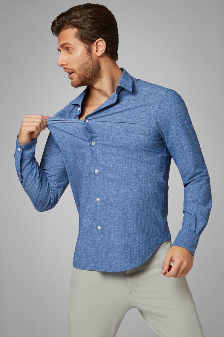 Hemd Mit Blauem Druck Und Tokyo-Kragen Slim Fit, Blau, hi-res