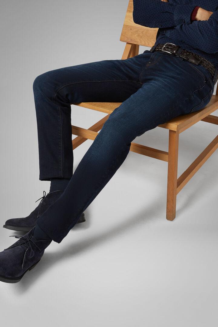 Pantalon En Denim 5 Poches Dark Wash Coupe Droite, toile de jean, hi-res
