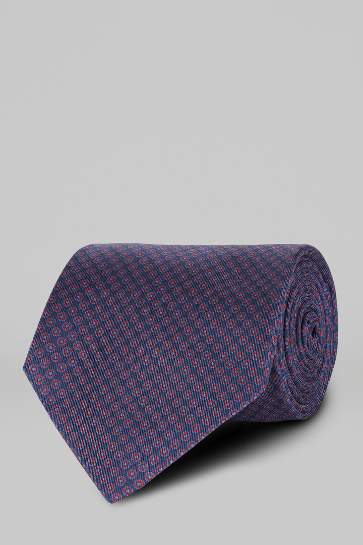 Cravate Fantaisie En Soie Imprimée, Bleu - Bourgogne, hi-res