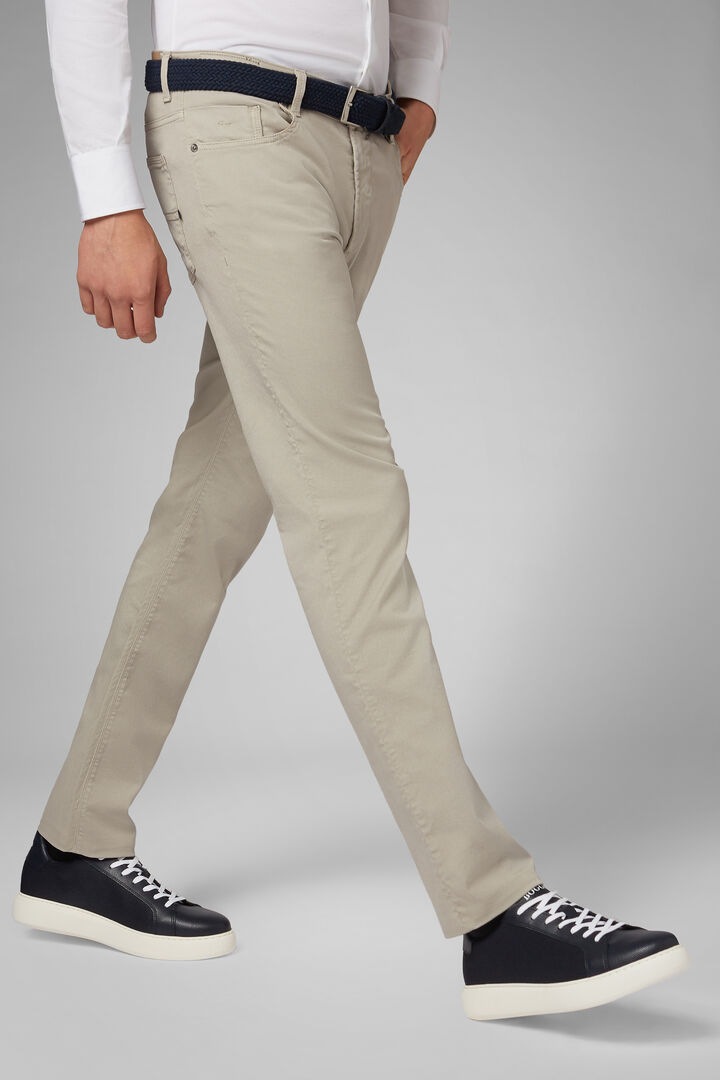 Regular Fit Cotton Gabardine/Tencel 5 Pocket Trousers, Beige, hi-res