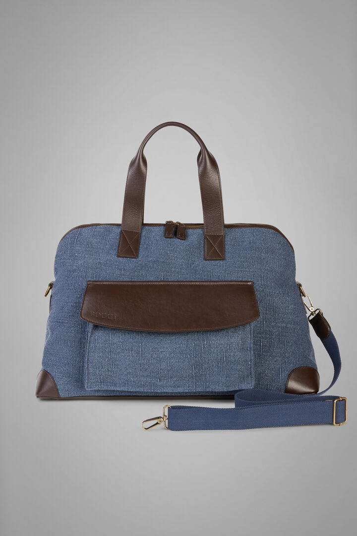 Canvas And Leather Travel Bag, Blue - Dark brown, hi-res