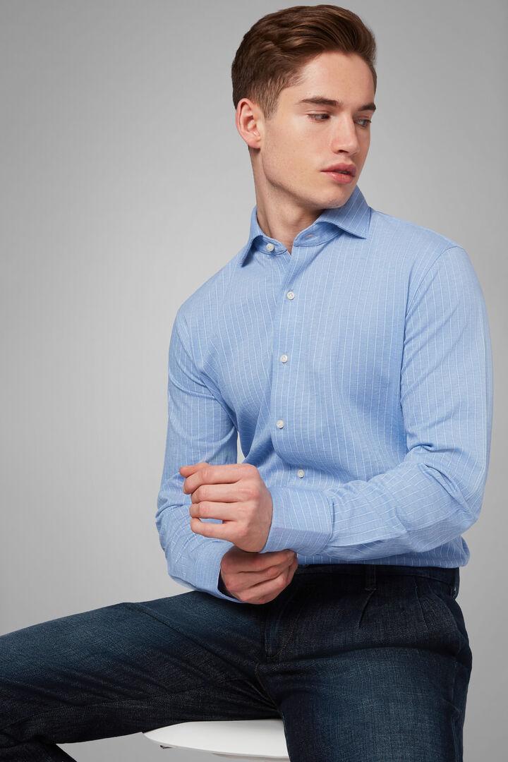 Polo Camicia Denim Collo Chiuso Slim Fit, Azzurro, hi-res