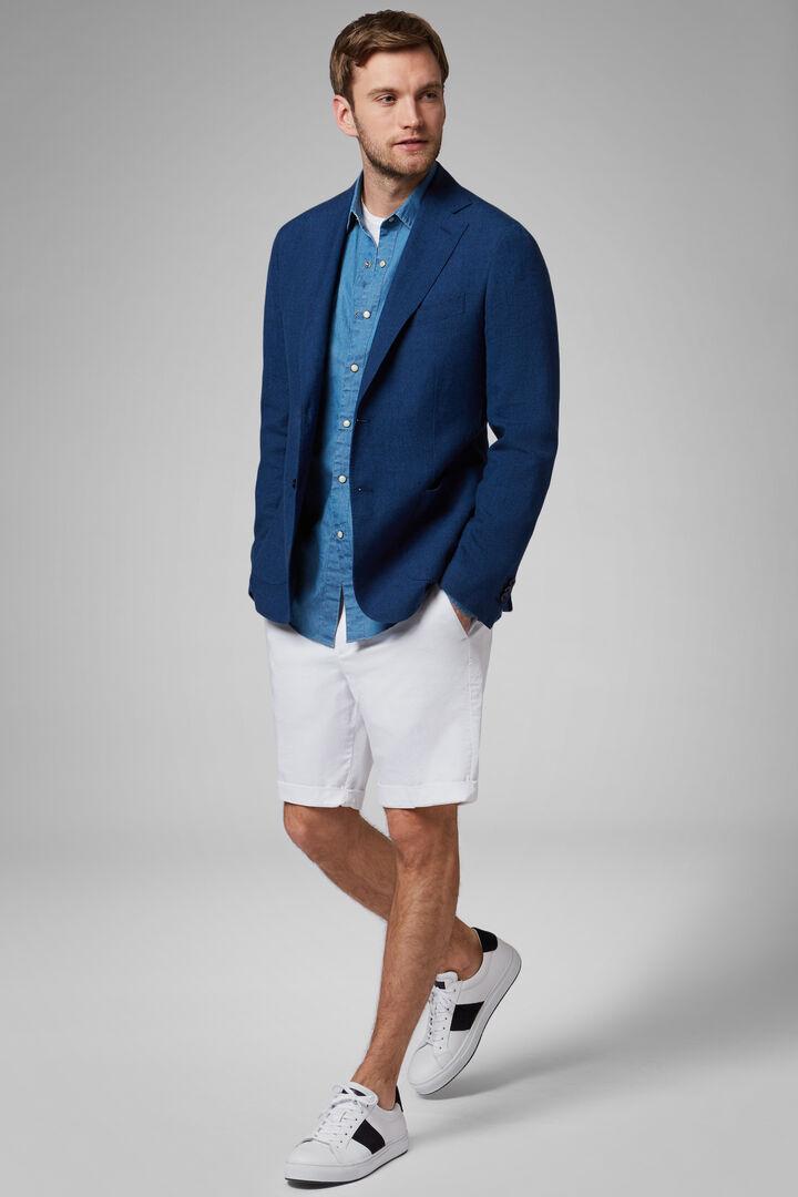 Cornflower Blue Wool, Silk And Linen Capri Blazer, Bluette, hi-res