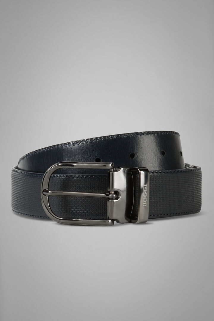 Reversible Micro Printed Leather Belt, Navy blue, hi-res
