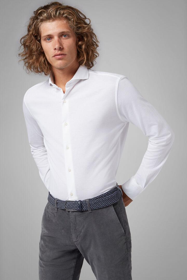 Chemise Polo Blanche À Col Ouvert Gris Coupe Droite, blanc, hi-res
