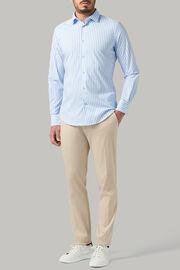 Tokyo- kragen hemd mit azurblauen streifen aus nylon slim fit, Hellblau, hi-res