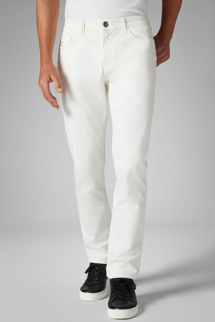 Regular Fit Stretch Cotton Bull Denim 5 Pocket Trousers, Cream, hi-res