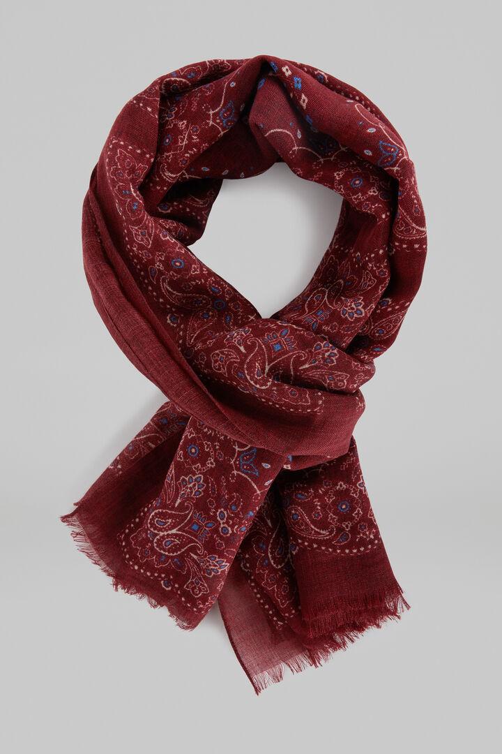 Paisley Print Wool Scarf, Burgundy, hi-res
