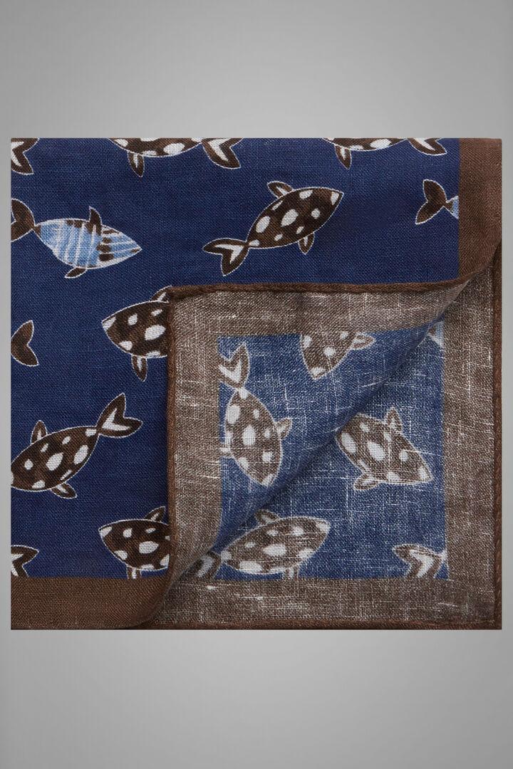 Fish Print Linen Pocket Square, Blue - Dark brown, hi-res