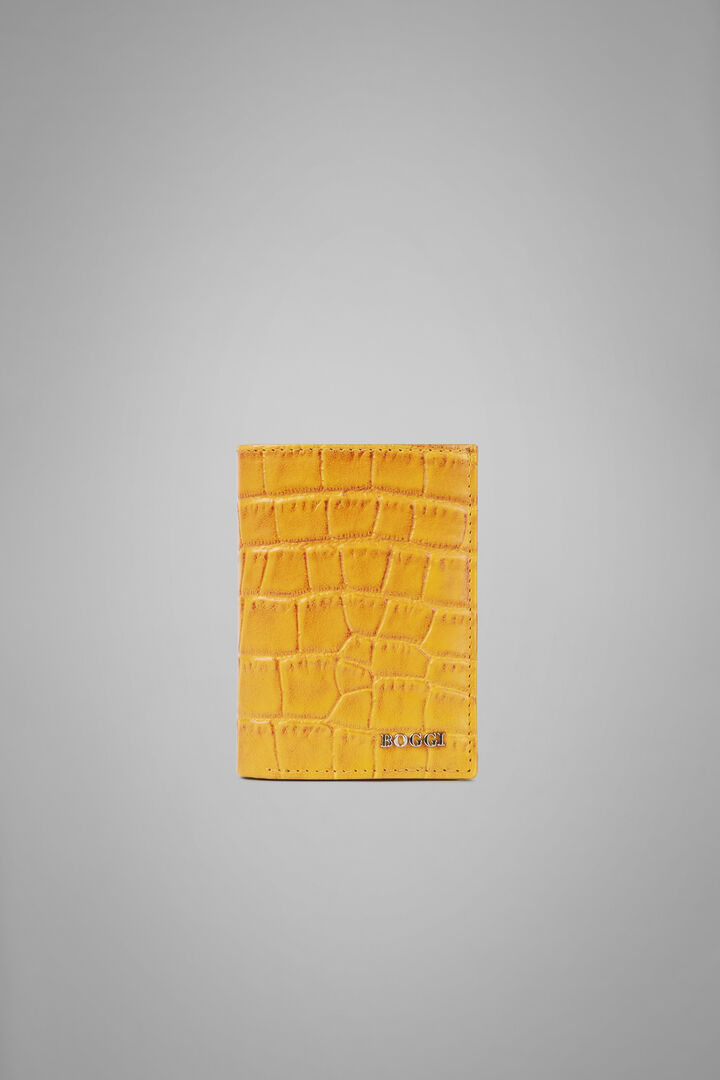 8-Compartment Faux Croc Leather Wallet, Yellow, hi-res