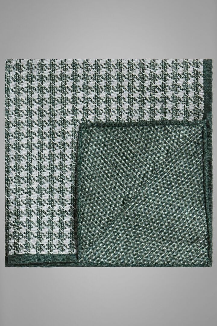 Double-Sided Printed Silk Pocket Square, Green, hi-res