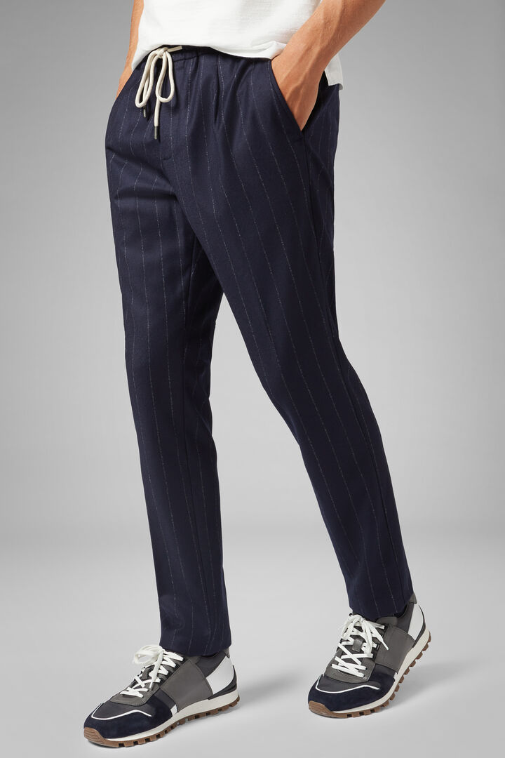 Pantalone In Flanella Gessata Con Coulisse Regular, Blu, hi-res