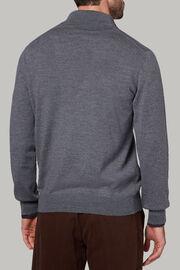 Dunkelgrauer pullover aus merinowolle mit reissverschluss, Dunkelgrau, hi-res