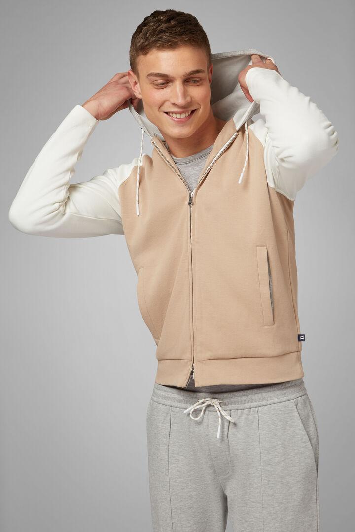Full Zip Hooded Sweatshirt In Stretch Cotton, Beige - White, hi-res