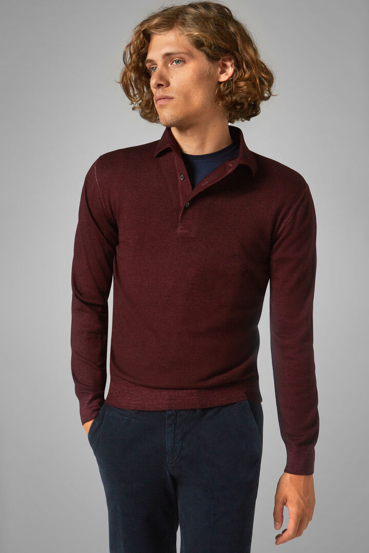 Stonewashed Knitted Merino Wool Polo Shirt, Burgundy, hi-res