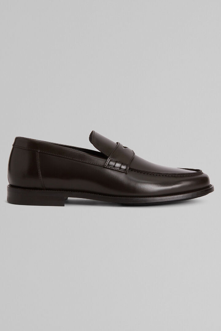 Smooth Leather Loafers With Rubber Soles, Dark brown, hi-res