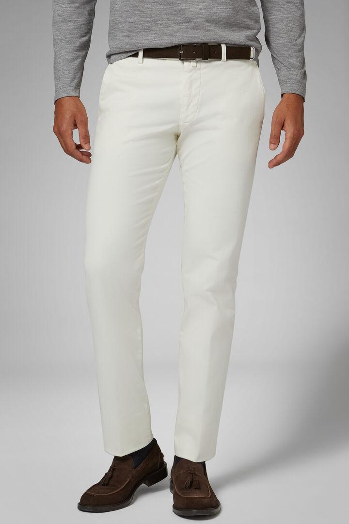 Pantalone In Cotone Raso Stretch Slim, Panna, hi-res