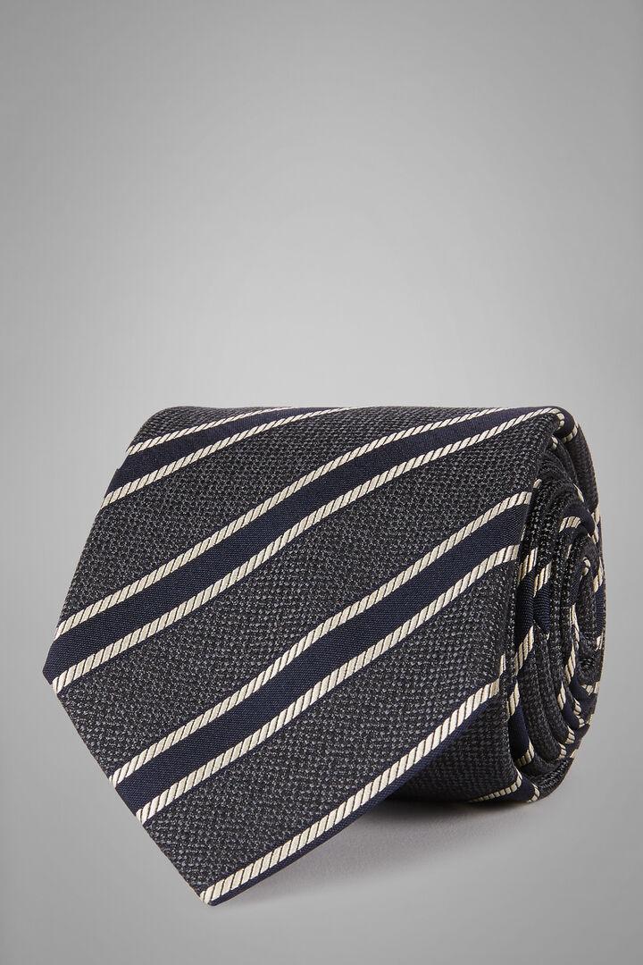 Cravatta Regimental In Seta Cotone Jacquard, Grigio - Blu, hi-res