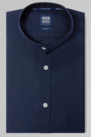 CAMICIA BLU NAVY COLLO COREANO SLIM FIT, NAVY, hi-res