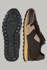 Sneaker Aus Technischem Gewebe Und Schwarzem Leder, Dunkelbraun, hi-res