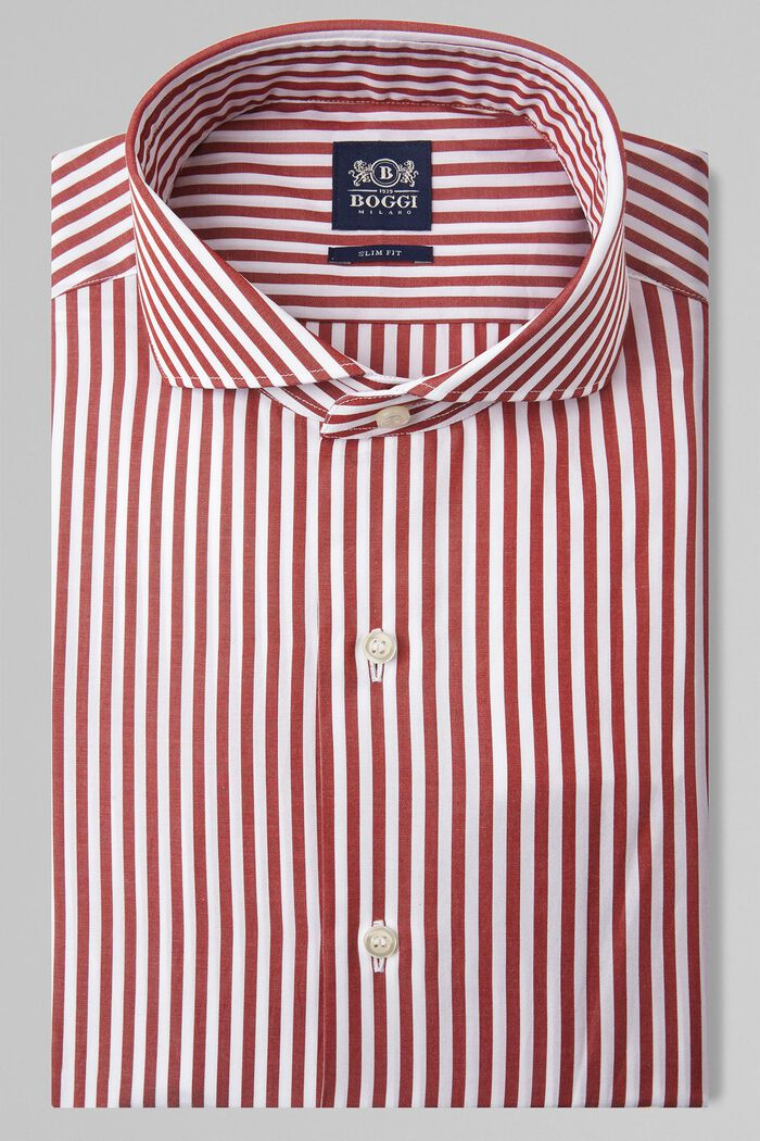 CAMICIA A RIGHE MATTONE COLLO NAPOLI SLIM FIT, , hi-res