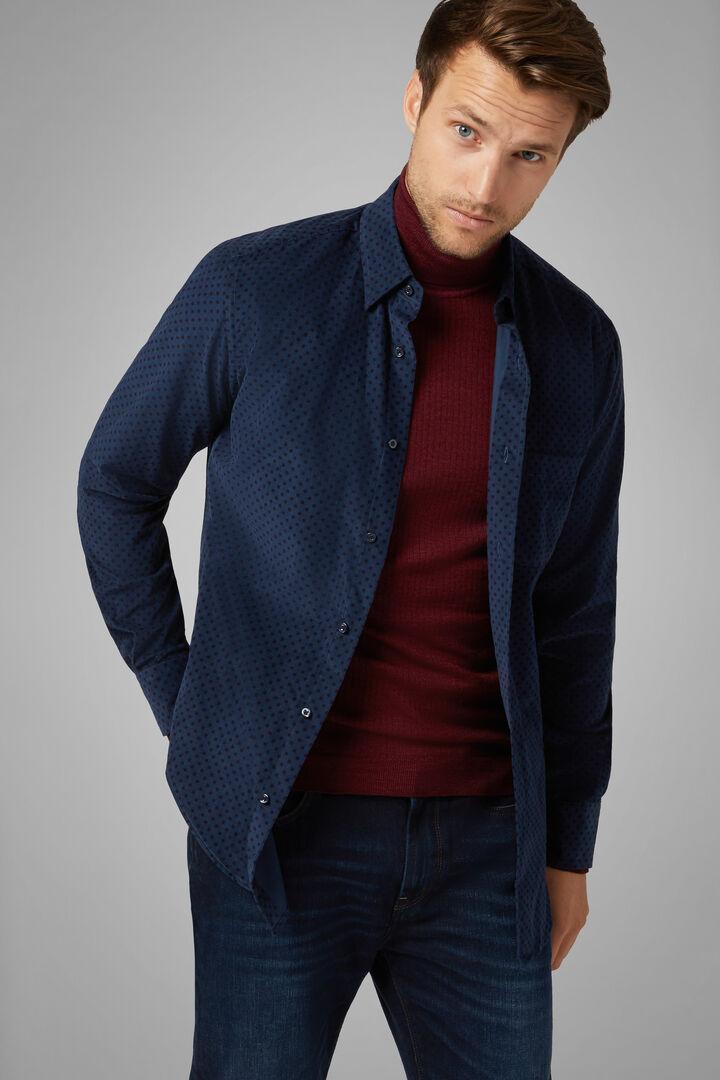 Regular Fit Navy Shirt With Hidden Button Down Collar, Blue - Burgundy, hi-res