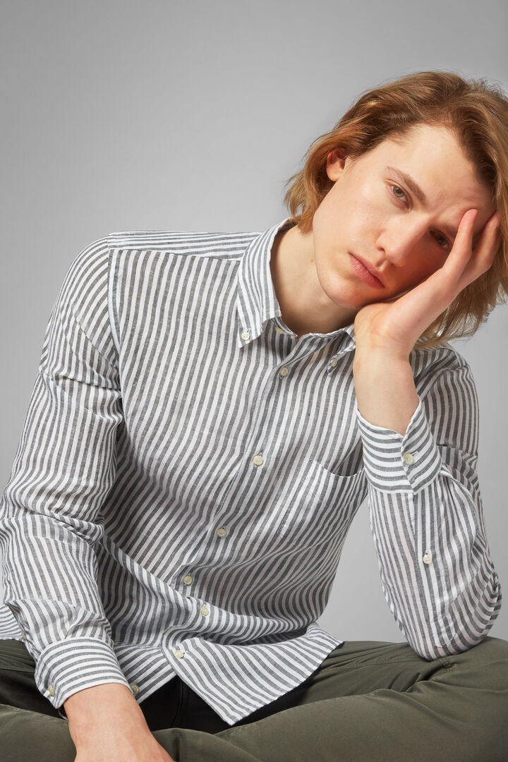 button down collar green stripe shirt regular, White - Green, hi-res