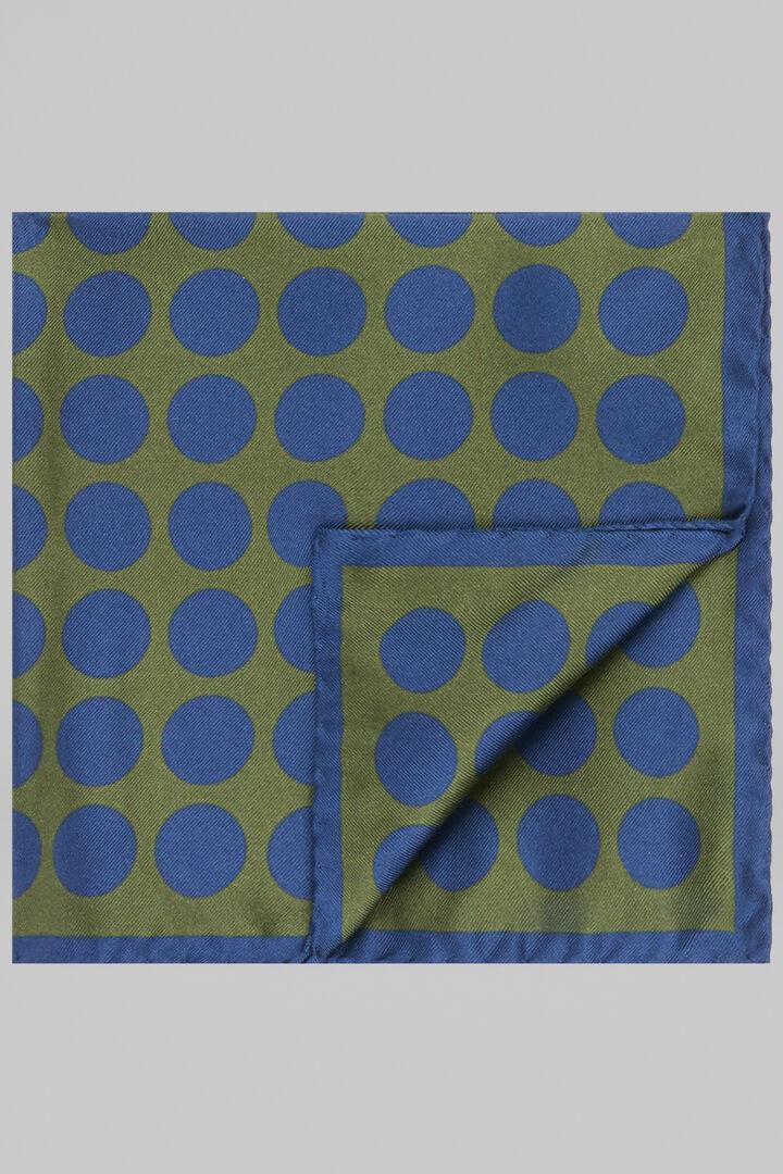 Pochette En Soie Imprimée Macro Pois, Vert bleu, hi-res