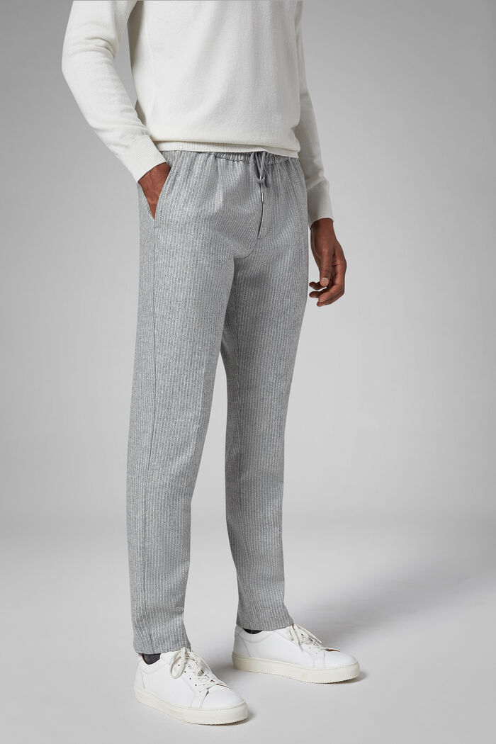 Regular Fit Pinstripe Wool Trousers With Drawstring, , hi-res