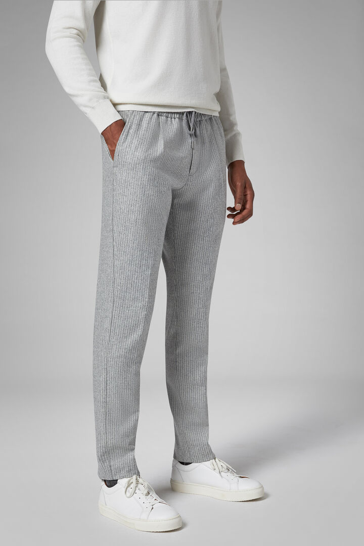 Regular Fit Pinstripe Wool Trousers With Drawstring, Light grey, hi-res