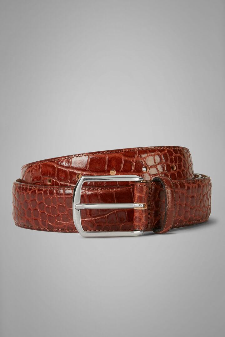 Cintura In Pelle Stampa Coccodrillo, Bruciato, hi-res
