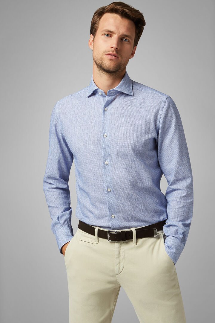 Regular Fit Sky Blue Leno Weave Shirt With Closed Collar, Light blue, hi-res
