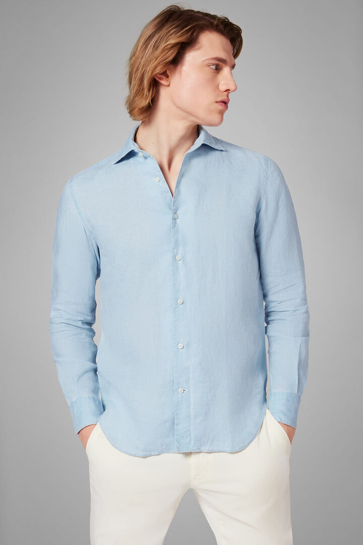 Regular Fit Sky Blue Shirt With Cuban Collar, Light blue, hi-res