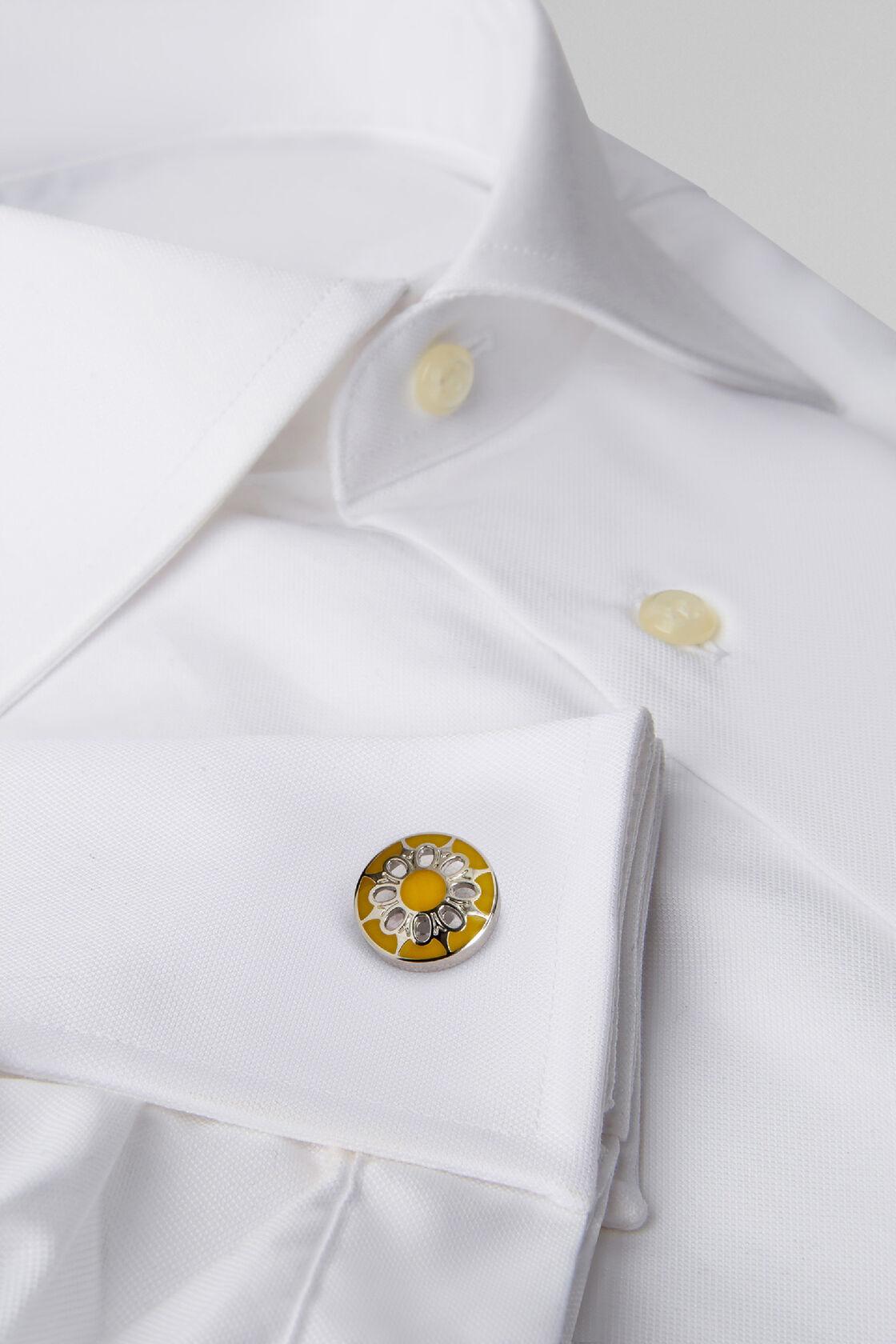 Runde manschettenknöpfe mit blumenmotiv, Gelb, hi-res