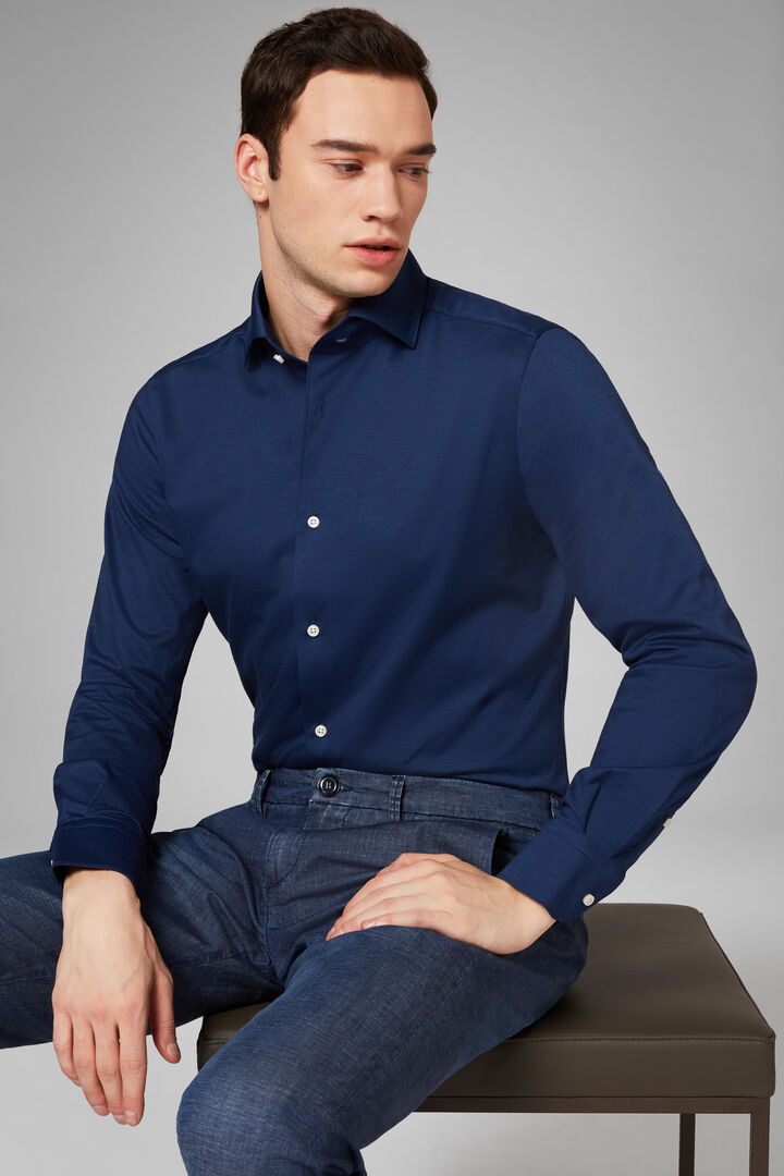 Regular Fit Navy Blue Casual Shirt With Cuban Collar, Navy blue, hi-res