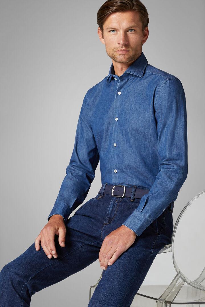 Slim Fit Denim Shirt With Closed Collar, Indigo, hi-res