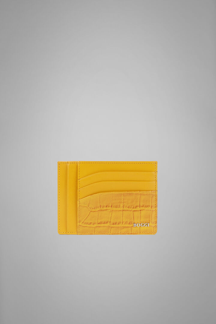 Large Faux Croc Print Leather Credit Card Holder, Yellow, hi-res