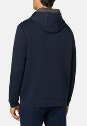 Sweatshirt mit kapuze aus elastischem light scuba, Navy blau, hi-res