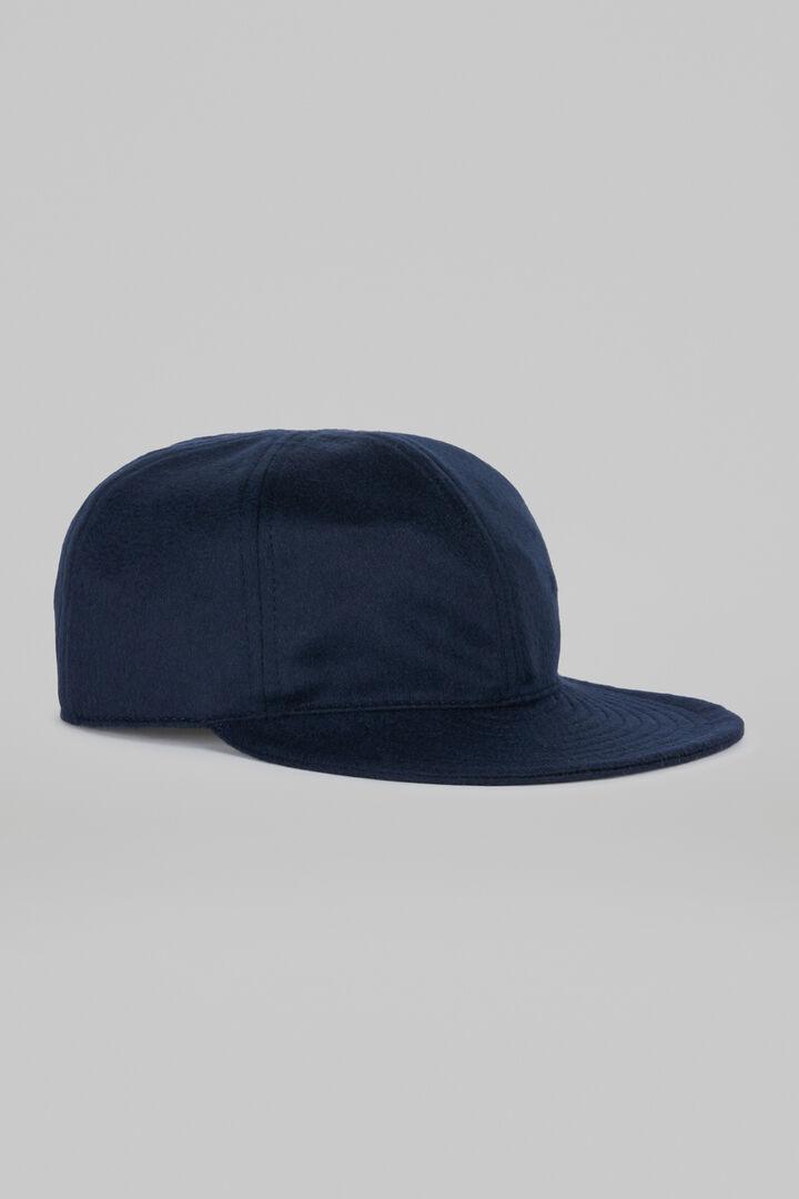 Faltbarer Kappe Mit Schild Aus Kaschmir, Navy blau, hi-res