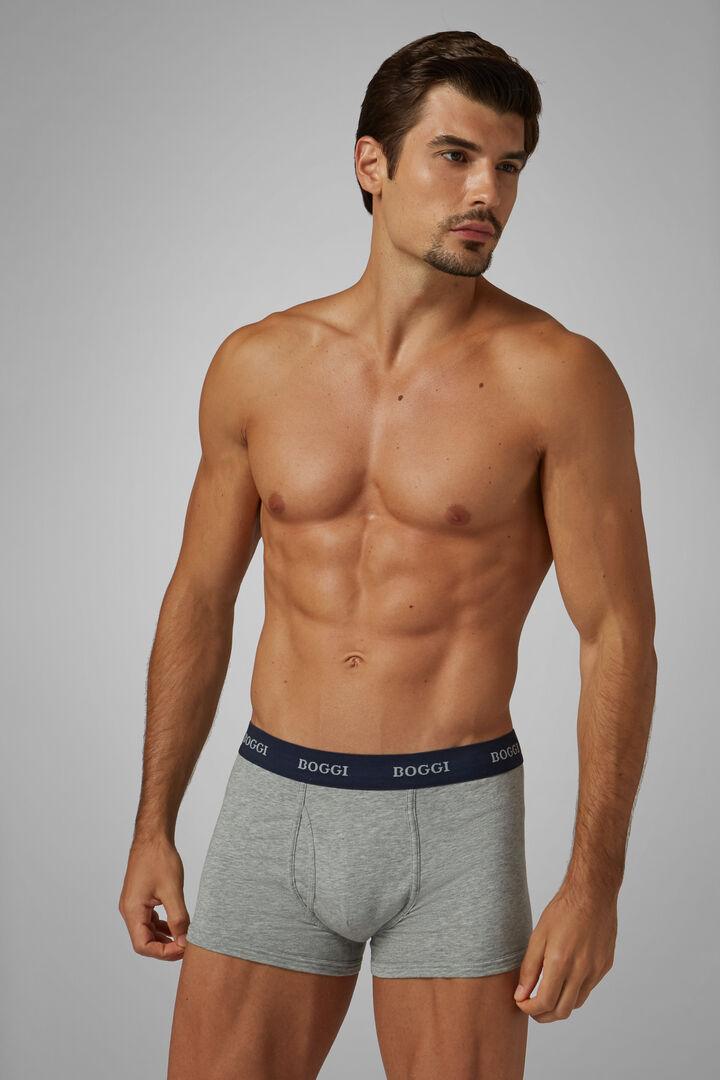 Boxer Gris En Coton Stretch, Gris, hi-res