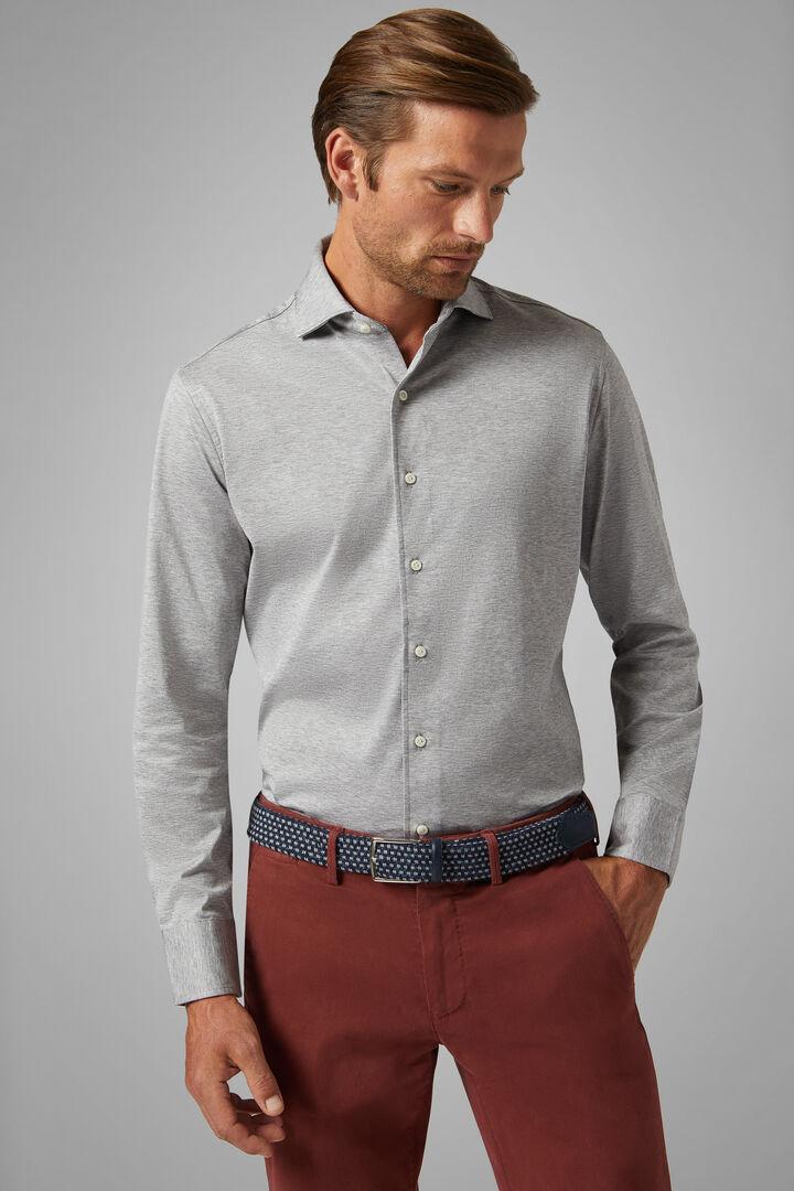 Polohemd Grau Mit Kent-Kragen Slim Fit, Grau, hi-res