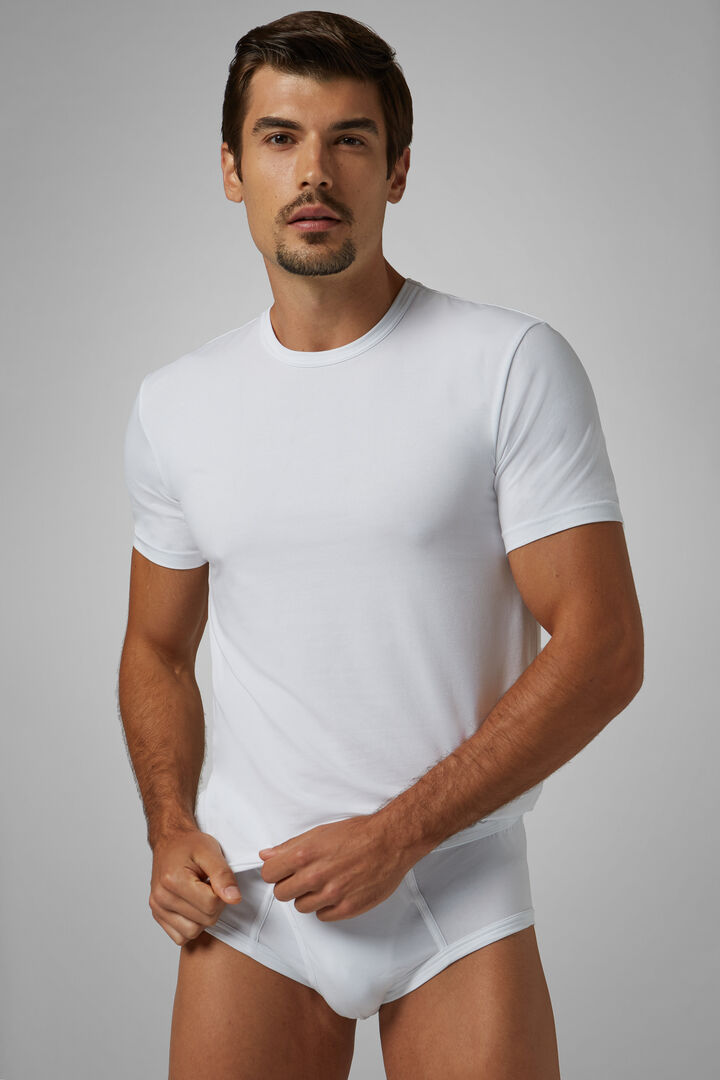 Camiseta Interior De Algodón Elástico Blanco, Blanco, hi-res